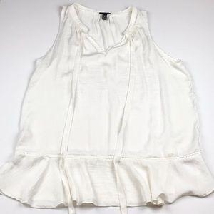 Ivory Sleeveless Tunic Blouse